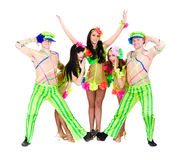 Dancer team wearing a folk ukrainian costumes Stock Photography