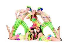 Dancer team wearing a folk ukrainian costumes Stock Photos