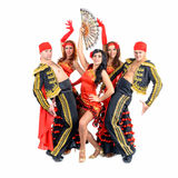 Dancer team wearing in traditional flamenco dresses Stock Images