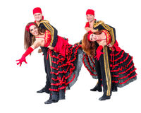 Dancer team wearing in traditional flamenco Stock Photos