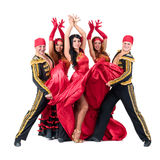 Dancer team wearing in traditional flamenco Royalty Free Stock Images