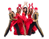 Dancer team wearing in traditional flamenco dresses Royalty Free Stock Photo