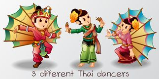 Vector isolated dancer Thai cartoon characters. royalty free illustration