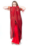 Dancer in traditional red dress Royalty Free Stock Photography