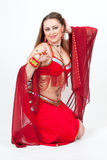Dancer in traditional red dress Royalty Free Stock Photo