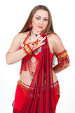Dancer in traditional red dress Royalty Free Stock Photos