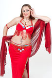 Dancer in traditional red dress Stock Photos