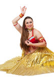 Dancer in traditional red dress Royalty Free Stock Images