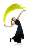 Dancer With Trailing Silk Fabric. Isolated over white background royalty free stock image