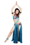 Dancer in a turquoise dress Royalty Free Stock Images