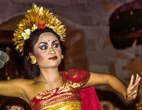 Dancer in Ubud performs Legong, a Balinese Dance Stock Image