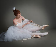 Dancer wears pointes Stock Image