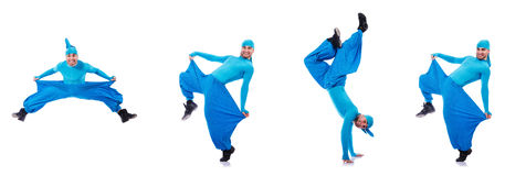The dancer in wide trousers on white Royalty Free Stock Photo