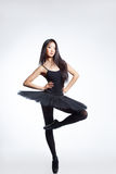 The dancer. Young beautiful dancer posing on a studio background Royalty Free Stock Photography