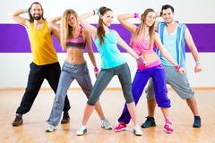 Dancer at Zumba fitness training in dance studio Stock Photos