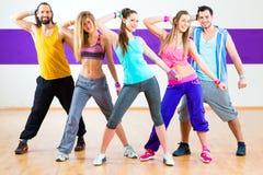 Dancer at Zumba fitness training in dance studio stock photos