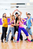 Dancer at Zumba fitness training in dance studio Stock Images