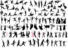 Danceres and sportsmen silhouettes Stock Images