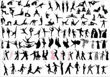 Danceres und Sportlerschattenbilder Stockbilder