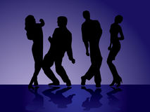 Dancers - 1. Set of silhouettes of  the men and women on a disco Royalty Free Stock Photo