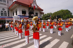 Dancers. KAWIT, CAVITE, PHILIPPINES - JUNE 12: Unidentified trumpeters perform during the commemoration of Philippine independence on June 12, 2006 in Kawit Royalty Free Stock Images