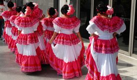 Dancers. Mexican dance troupe preparing to put on a performance Royalty Free Stock Photos