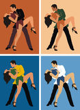 Dancers. Man and woman dancing swing, in four different colour gamma Stock Photos