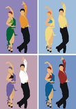 Dancers. Man and woman dancing paso doble, in four different colour gamma Stock Photos