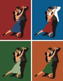 Dancers. Man and woman dancing merengue, in four different colour gamma Stock Photography