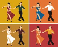 Dancers. Man and woman dancing cha cha, in four different colour gamma Stock Photos