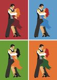 Dancers. Man and woman dancing mambo, in four different colour gamma Stock Images