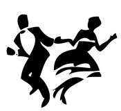 Dancers. Couple latino dancers on the white background royalty free illustration