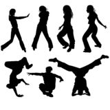 Dancers. Young people dancing modern street dances royalty free illustration