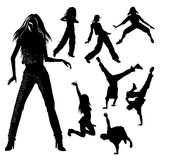 Dancers. Silhouette - people dancing modern dances vector illustration