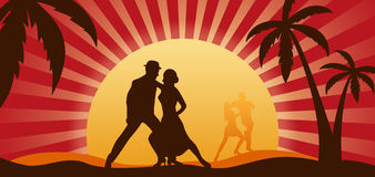 Dancers. Silhouettes of dancers on a background of a sunset Royalty Free Stock Image
