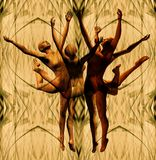 Dancers on abstract background. A circle of dancers on an abstract beige and green background Stock Photos