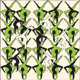 Dancers. Abstract illustration of a dancer replicated in green, black, white Royalty Free Stock Photos