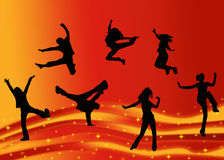 Dancers background. ILlustration of dancing people on glowing background Royalty Free Stock Images