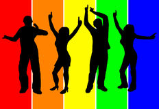 Dancers Background. A group of dancers in silhouette in front of a multicoloured  striped background. The additional format is saved as an EPS vector in AI8 Royalty Free Stock Photo