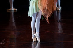 Dancers during ballet performances.Legs only. Royalty Free Stock Images