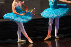 Dancers during ballet performances.Legs only. Stock Images