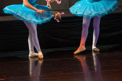 Dancers during ballet performances.Legs only. Stock Image