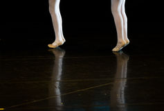 Dancers during ballet performances.Legs only. Stock Photos