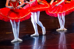 Dancers during ballet performances.Legs only. Soft focus Royalty Free Stock Photos