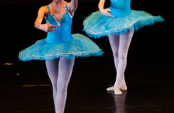 Dancers during ballet performances.Legs only. Soft focus Stock Photography