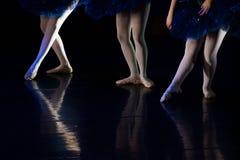 Dancers during ballet performances.Legs only. Soft focus Stock Photos