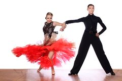 Dancers in ballroom against white background stock photos
