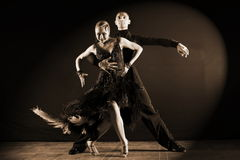 Dancers in ballroom isolated on black background Royalty Free Stock Photo