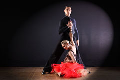 Dancers in ballroom isolated on black background Royalty Free Stock Images