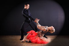 Dancers in ballroom isolated on black background Stock Images